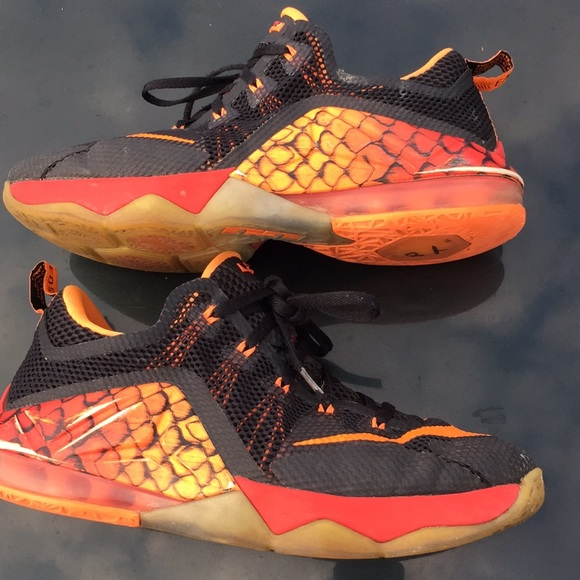 brand new af097 47e78 ... best price nike lebron 12 xii low gs boys black silver orange 0cc8b  4e071